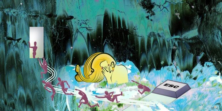 """""""Esc"""". Ilustración digital sobre pintura plástica. Fernando Morales."""